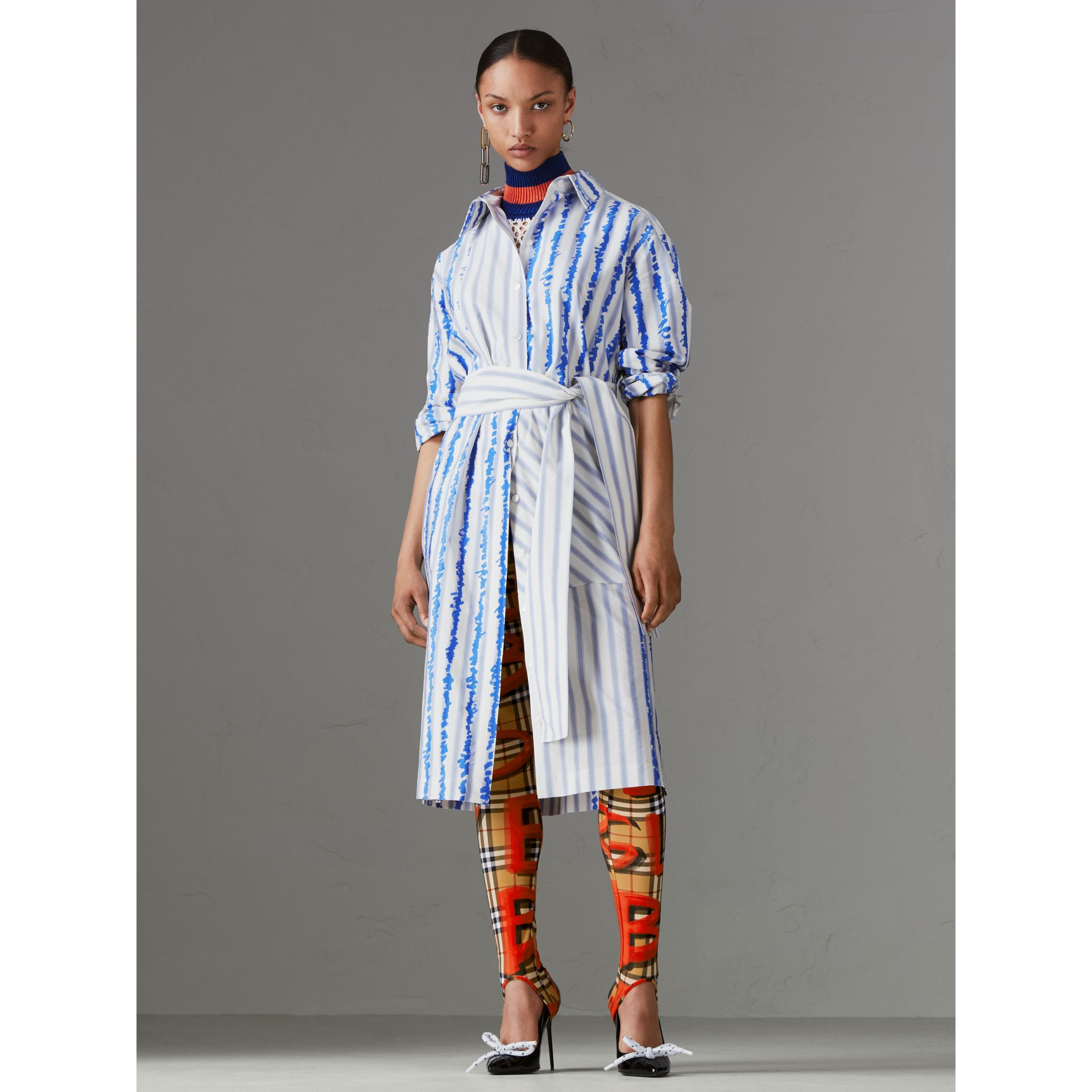 Scribble Stripe Silk Cotton Shirt Dress in Navy - Women | Burberry - gallery image 4