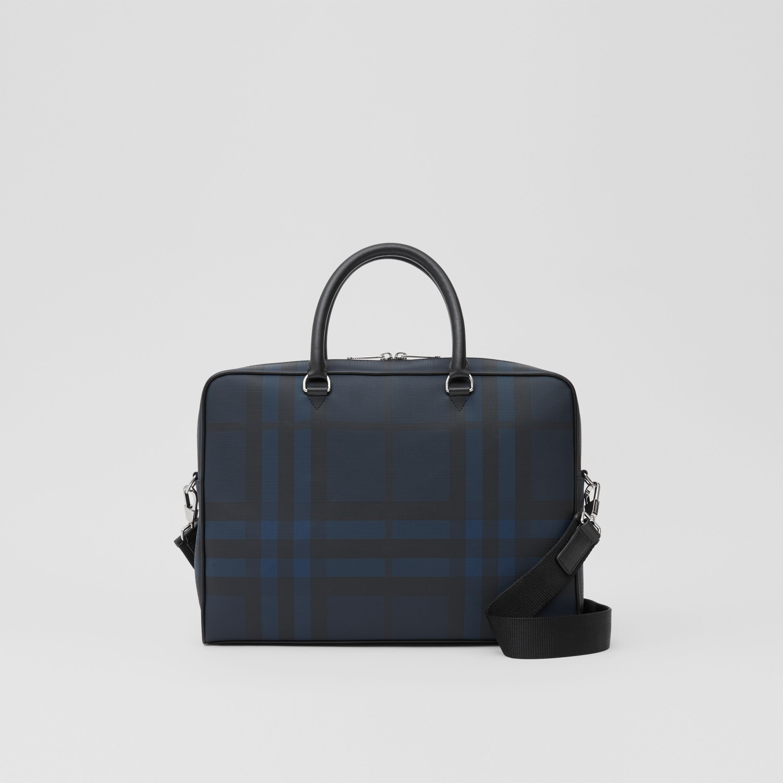 London Check and Leather Briefcase in Navy - Men | Burberry - 1