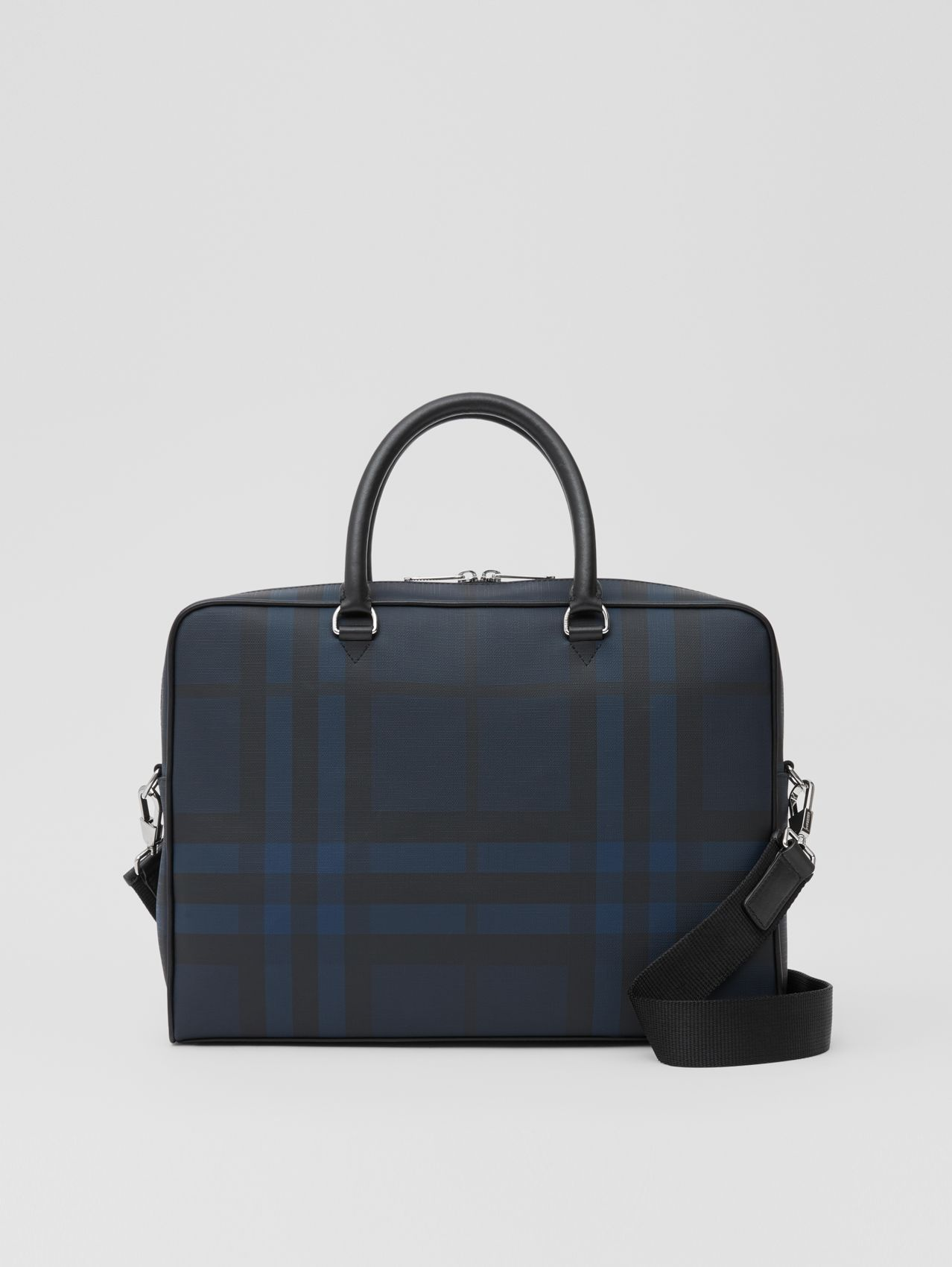 London Check and Leather Briefcase in Navy