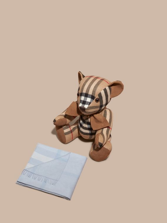 Check Cashmere Baby Blanket in Ice Blue | Burberry - cell image 2