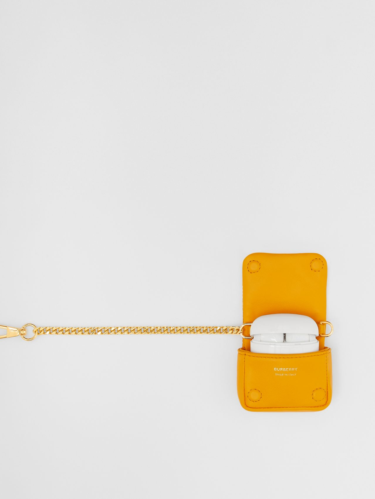 Quilted Lambskin AirPods Pro Case in Citrus Orange