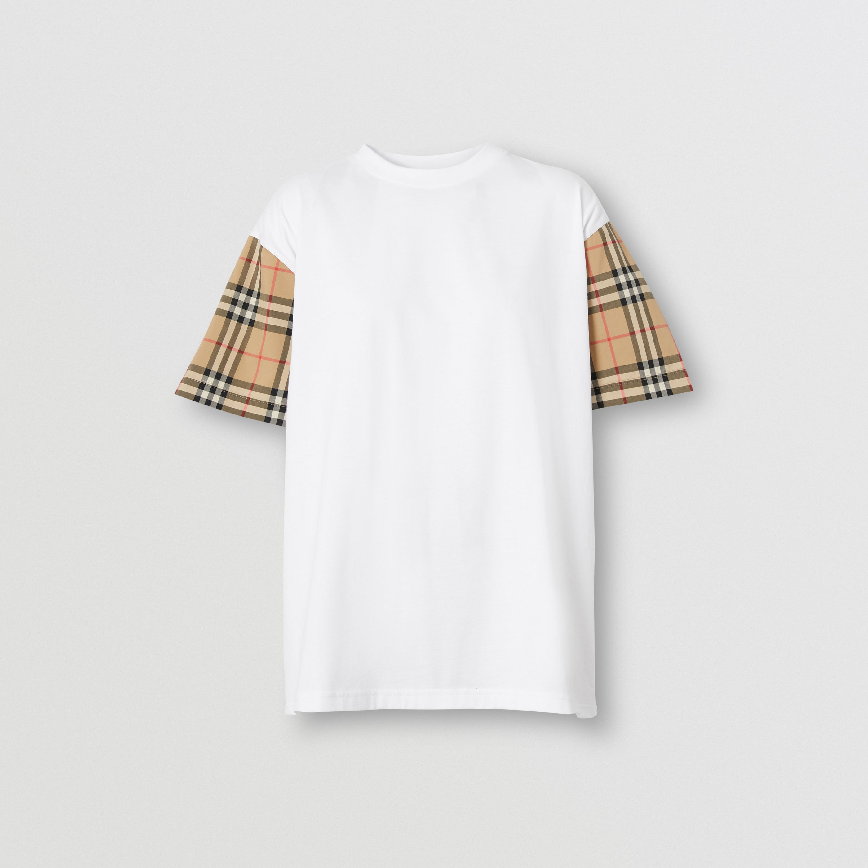 T-shirt oversize in cotone con maniche Vintage check (Bianco) - Donna   Burberry - 4