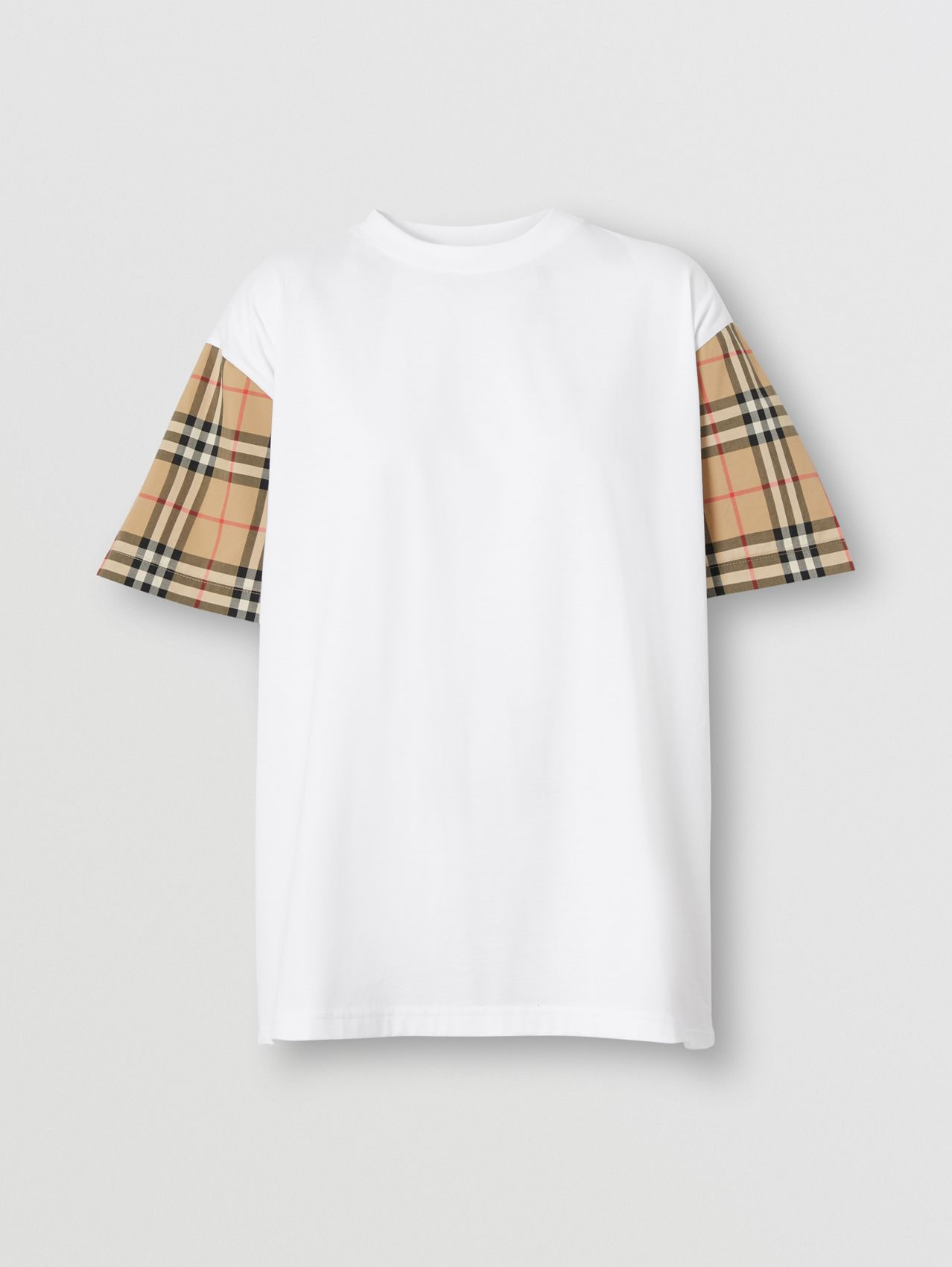 Vintage Check Sleeve Cotton Oversized T-shirt in White