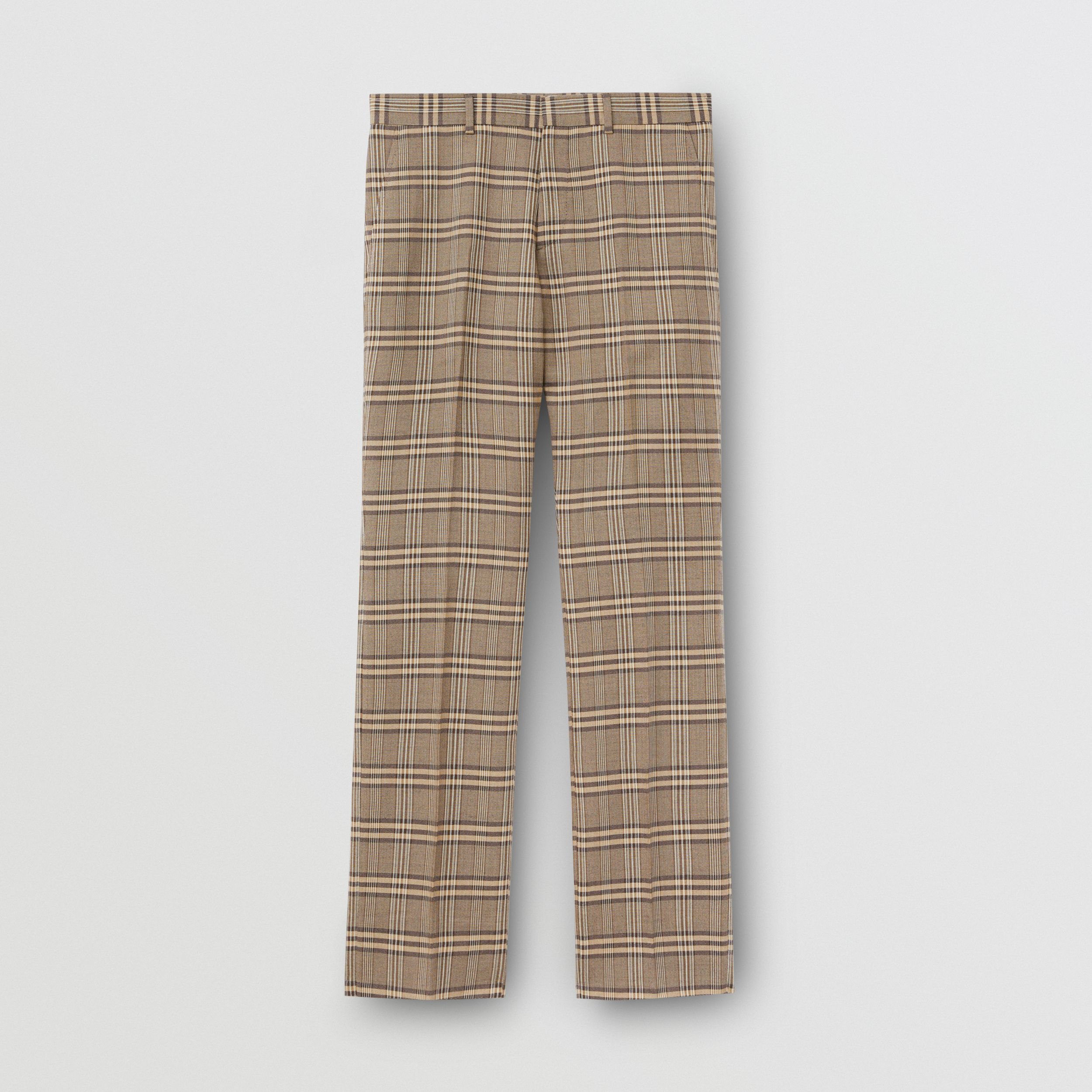 Prince of Wales Check Wool Silk Tailored Trousers in Dusty Caramel | Burberry Singapore - 4