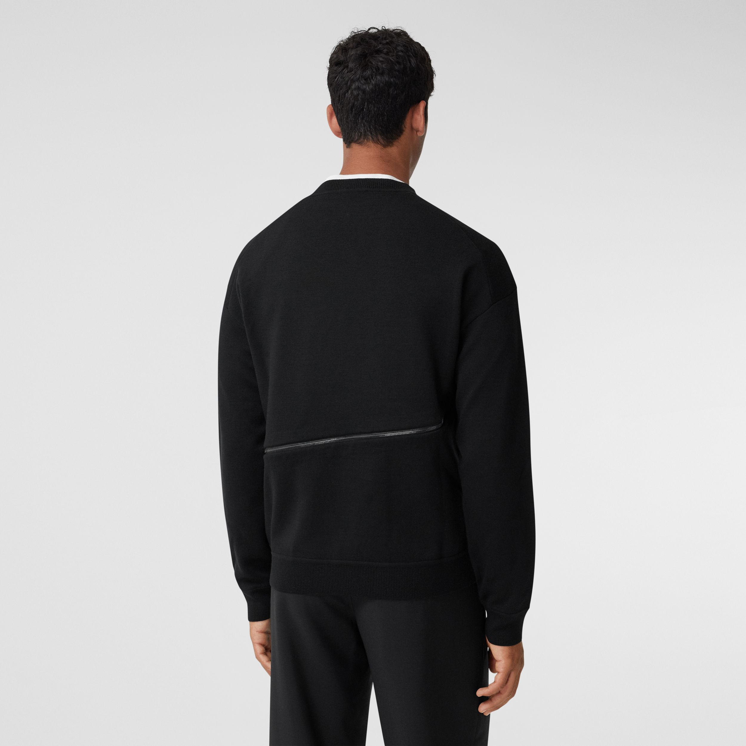Monogram Motif Intarsia Merino Wool Blend Sweater in Black - Men | Burberry - 2