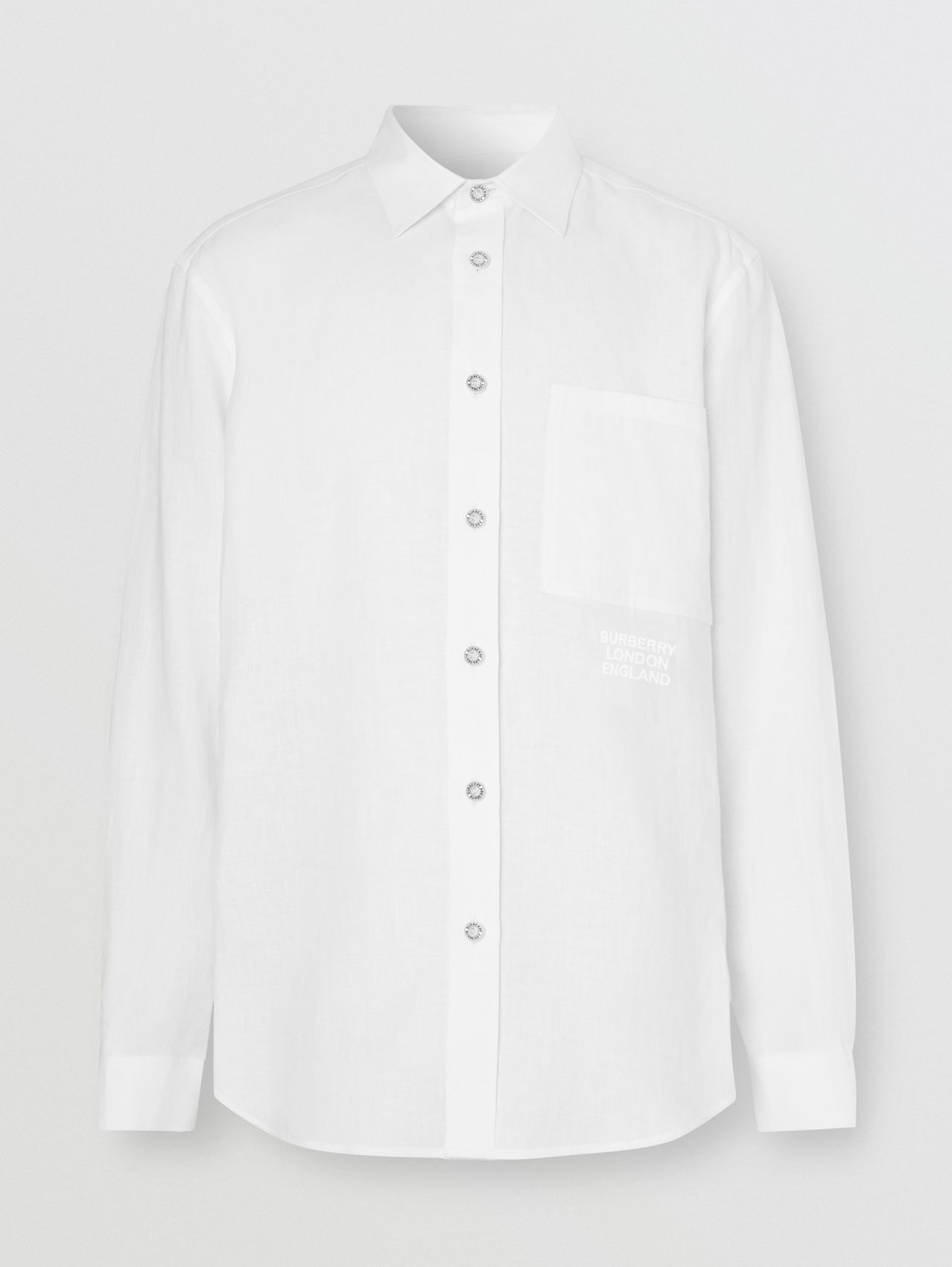 Embroidered Logo Linen Shirt in White