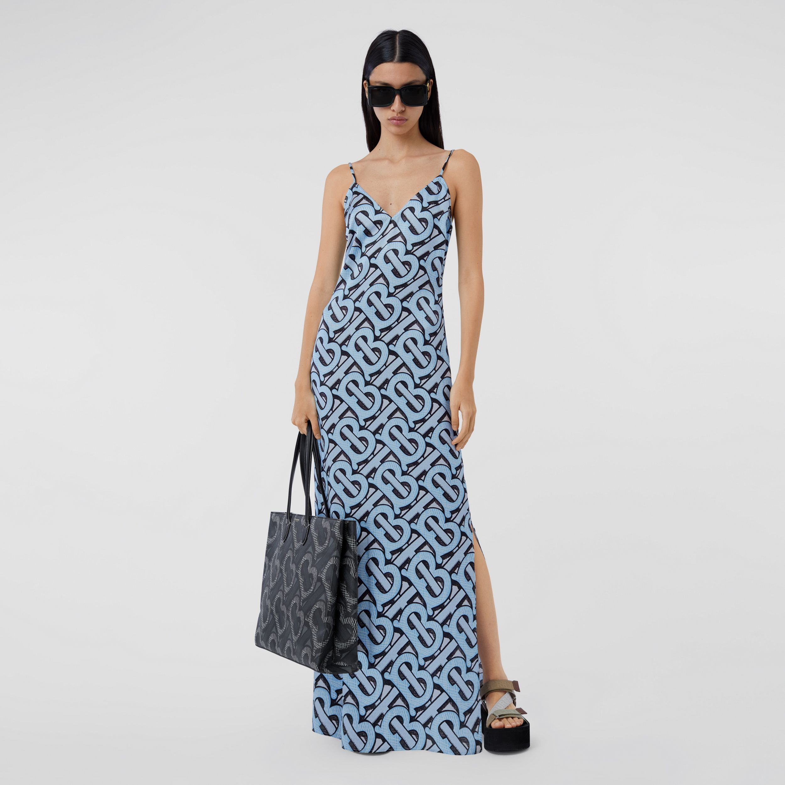 Monogram Print Silk Satin Slip Dress in Pale Azure - Women | Burberry - 1