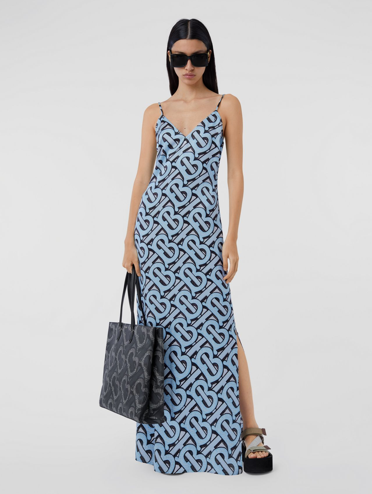Monogram Print Silk Satin Slip Dress in Pale Azure