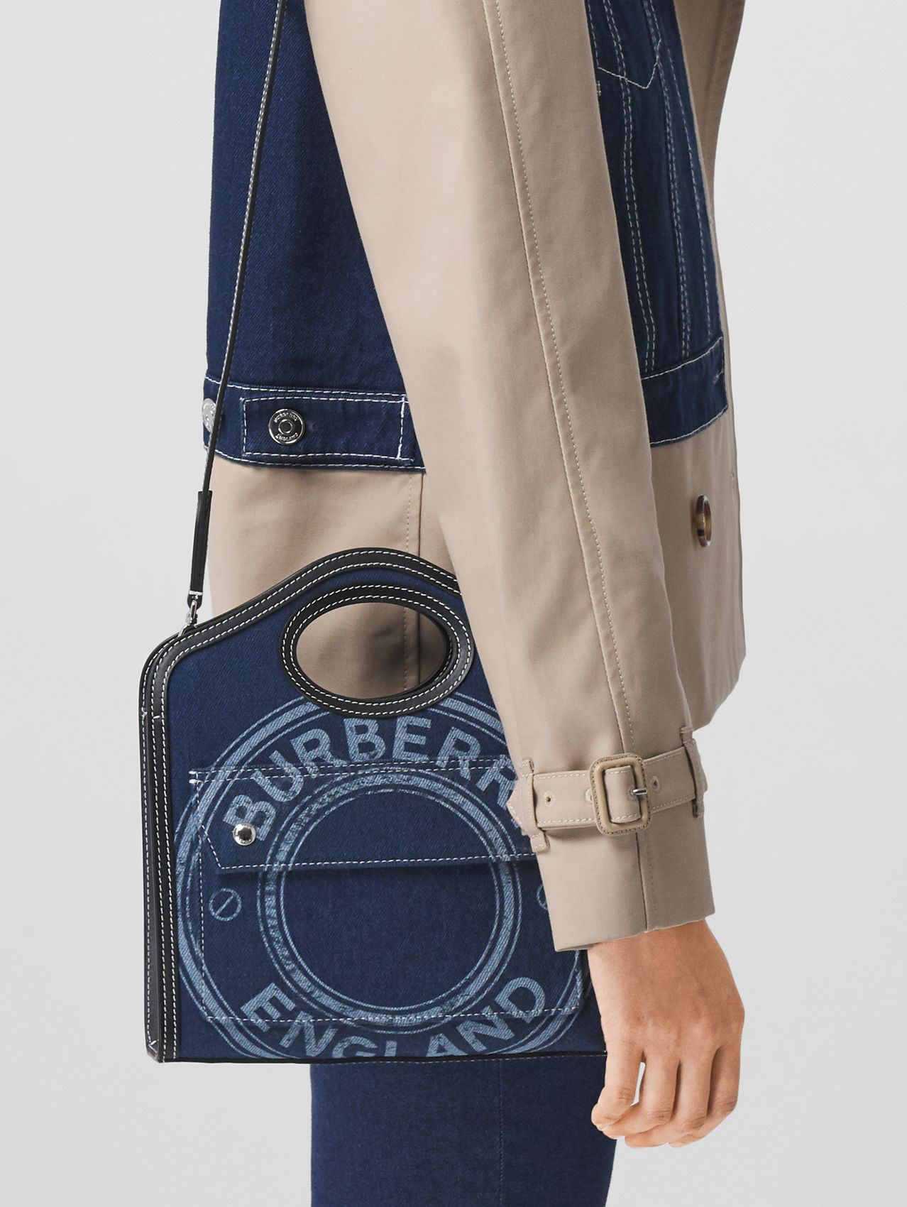 Mini Logo Graphic Denim and Leather Pocket Bag in Dark Canvas Blue