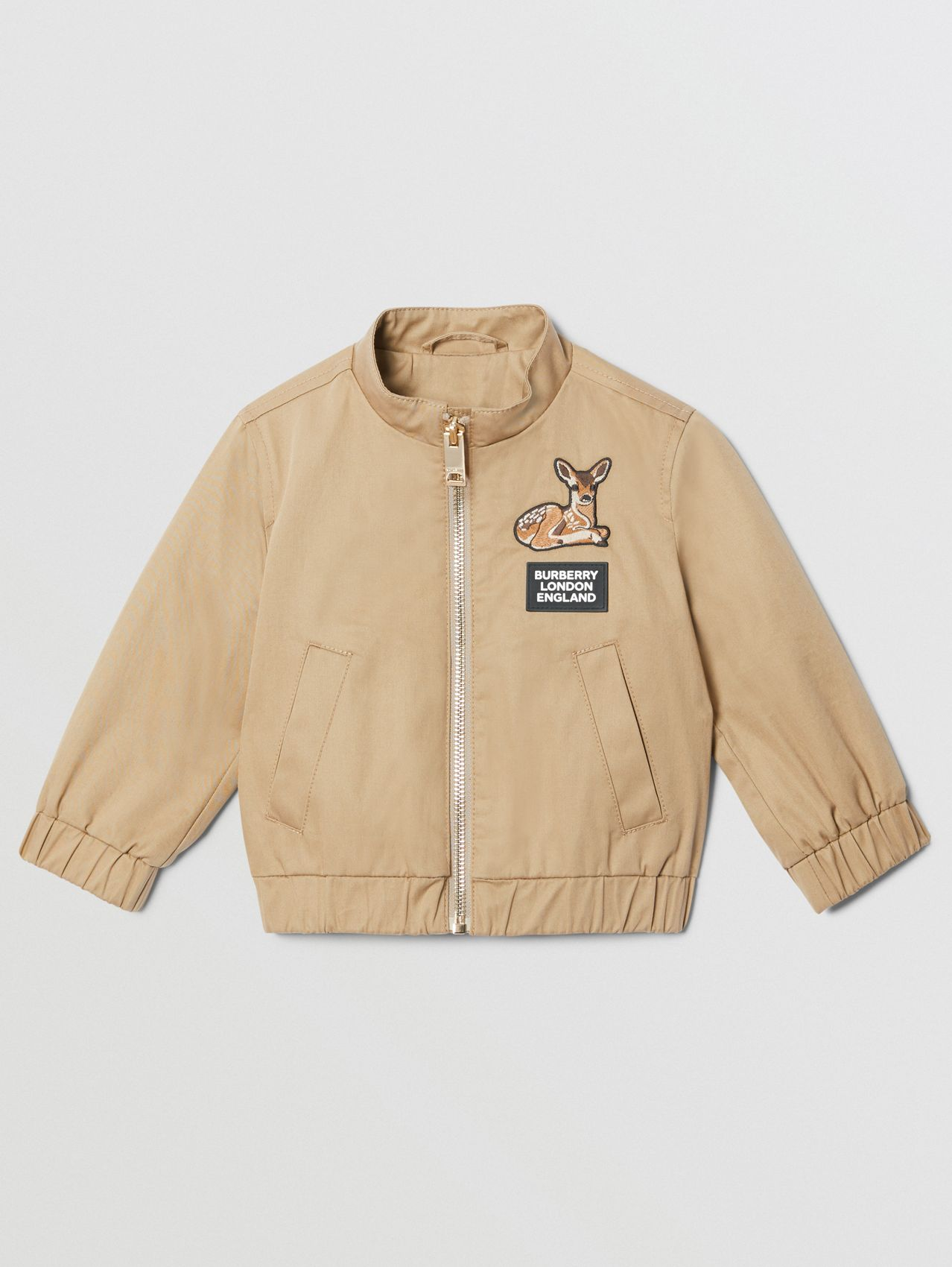 Deer Motif Cotton Twill Harrington Jacket in Honey