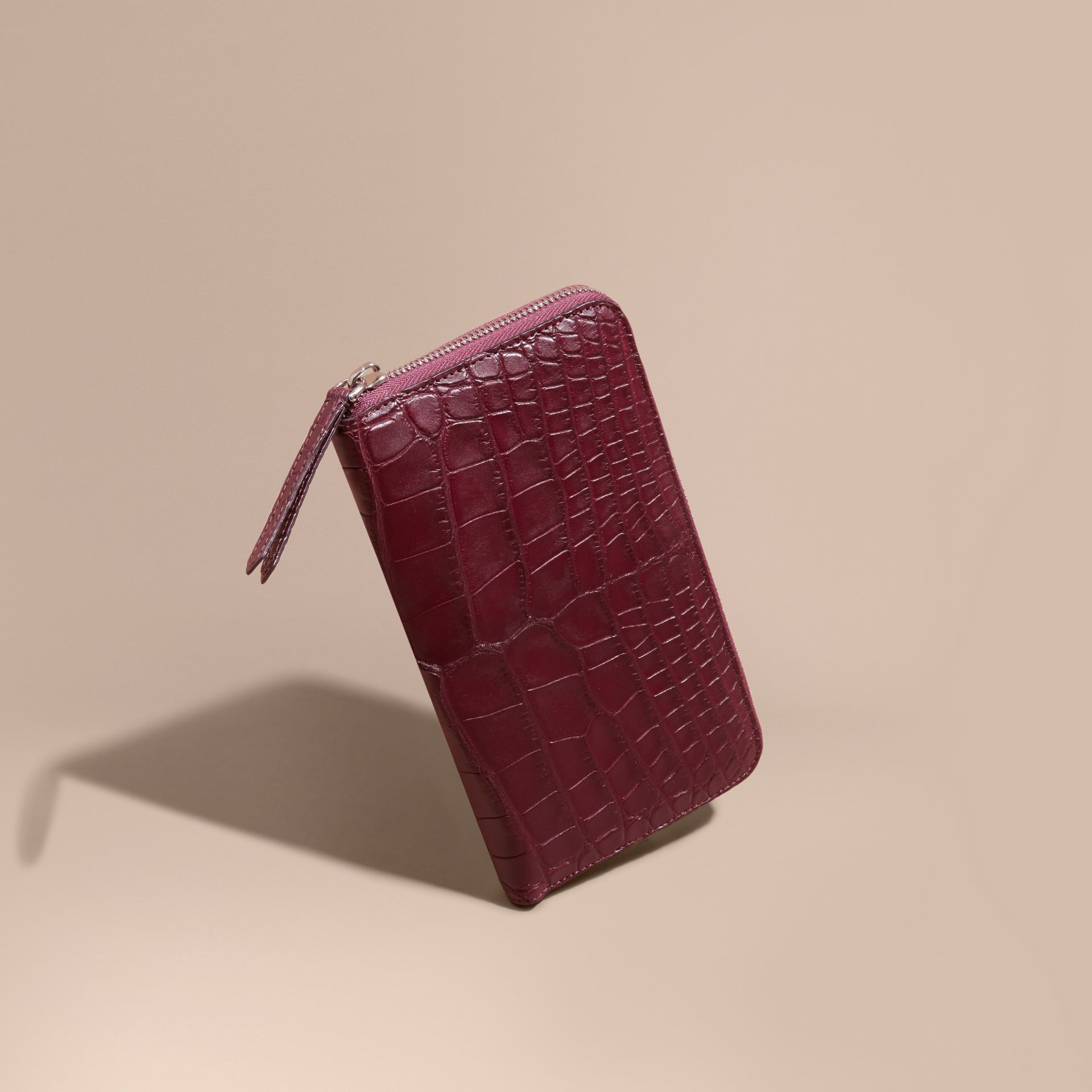 Deep claret Alligator and Leather Ziparound Wallet - gallery image 1