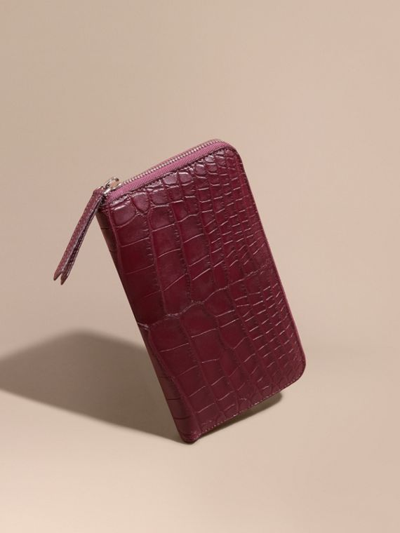 Alligator and Leather Ziparound Wallet