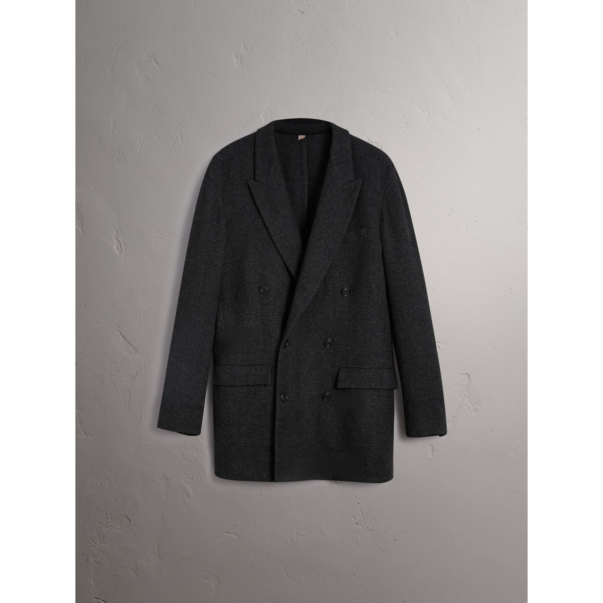 Prince of Wales Wool Blend Double-breasted Jacket in Charcoal Melange - Men | Burberry Australia - gallery image 3