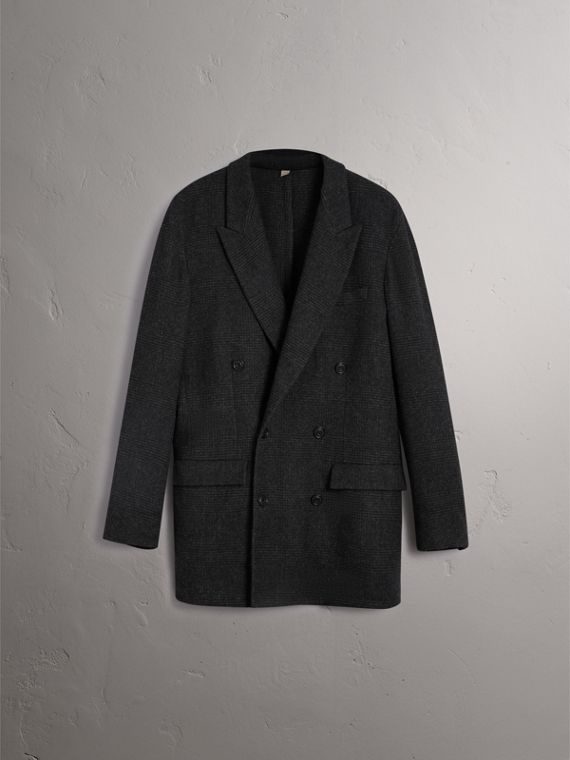 Prince of Wales Wool Blend Double-breasted Jacket in Charcoal Melange - Men | Burberry Australia - cell image 3