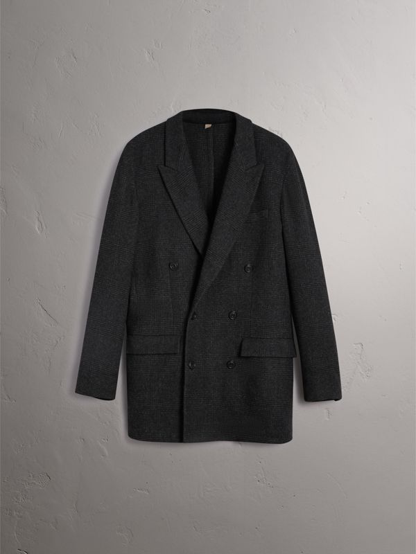 Prince of Wales Wool Blend Double-breasted Jacket in Charcoal Melange - Men | Burberry - cell image 3
