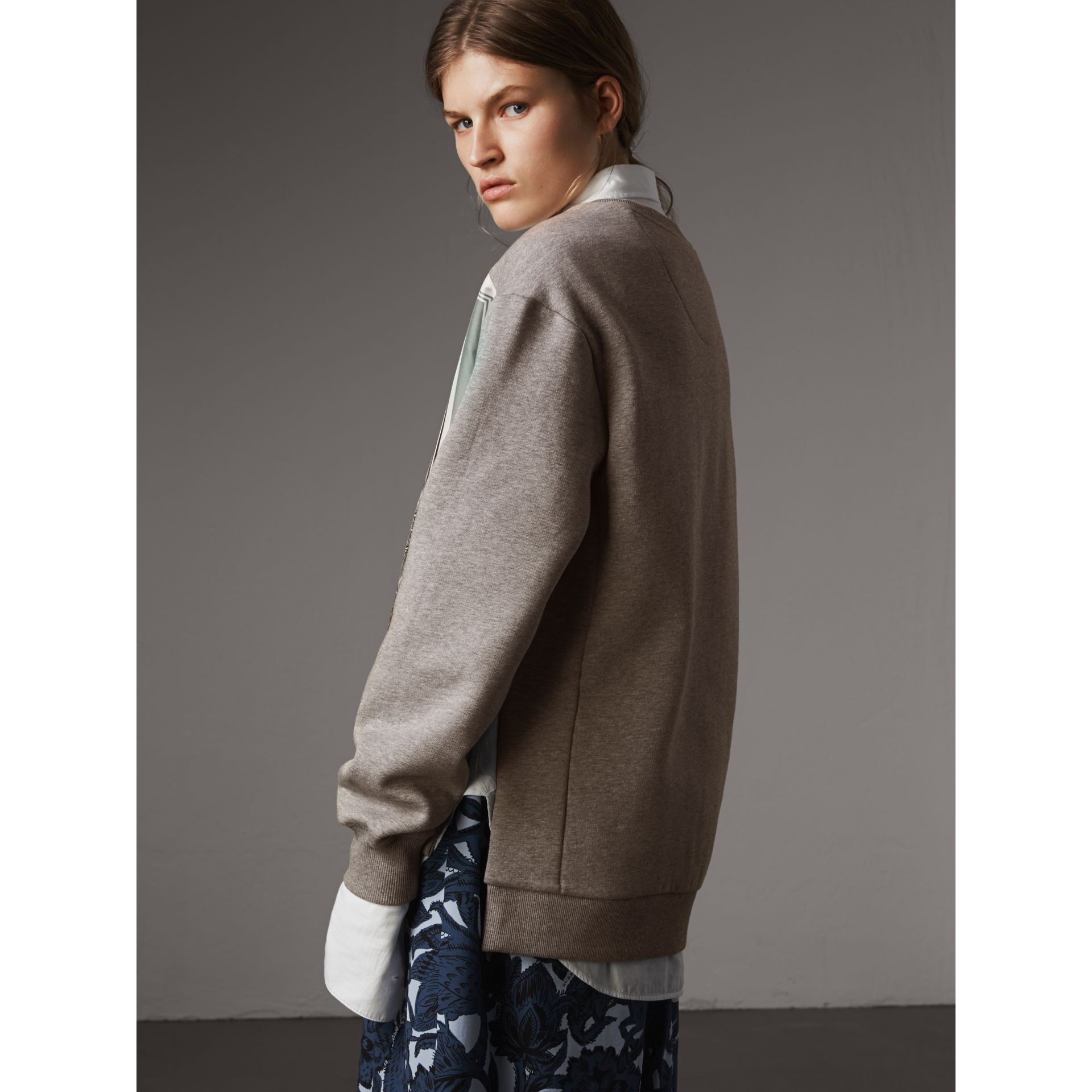 Beasts Print Silk Panel Jersey Sweatshirt in Pale Grey Melange - Women | Burberry - gallery image 3
