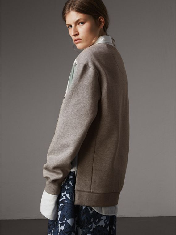 Beasts Print Silk Panel Jersey Sweatshirt in Pale Grey Melange - Women | Burberry - cell image 2