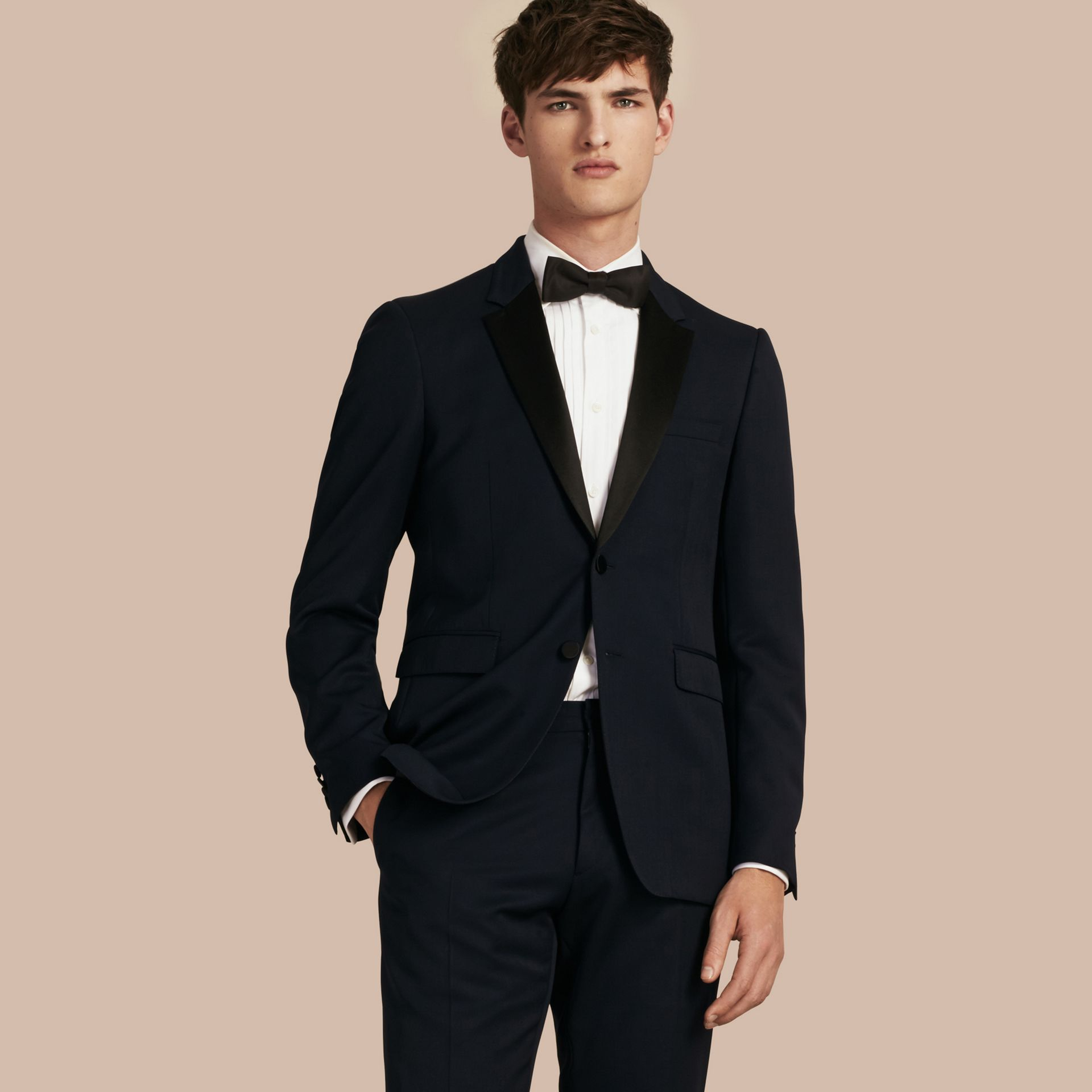 Navy Modern Fit Virgin Wool Half-canvas Tuxedo - gallery image 6