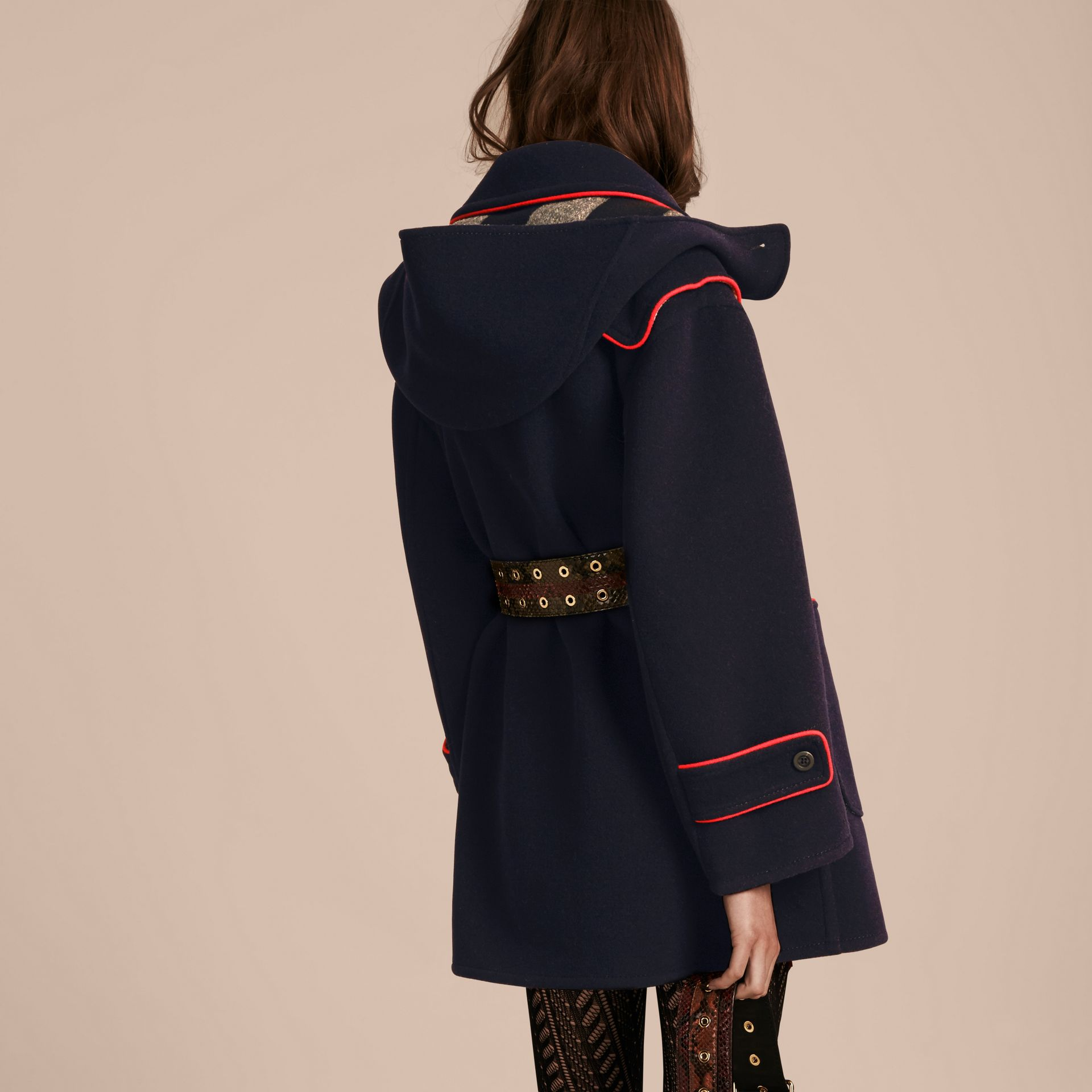 Navy Double-faced Wool Blend Duffle Coat - gallery image 3