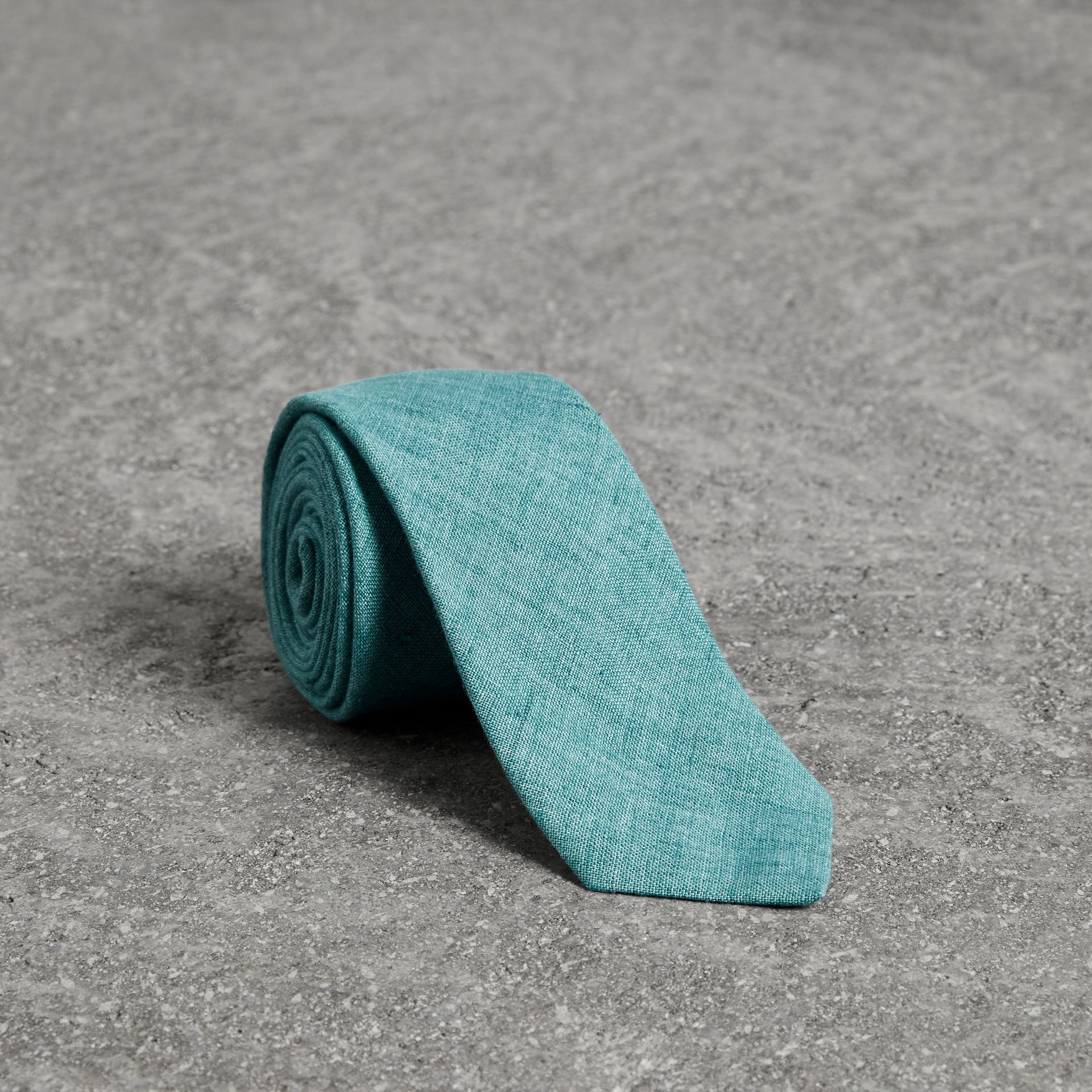Slim Cut Linen Tie in Pale Turquoise - Men | Burberry - gallery image 0