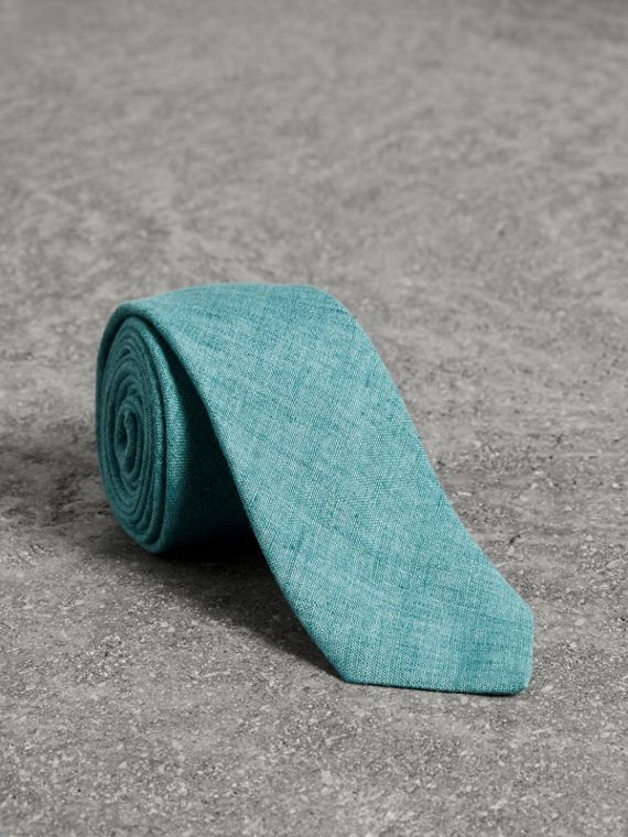 Slim Cut Linen Tie in Pale Turquoise