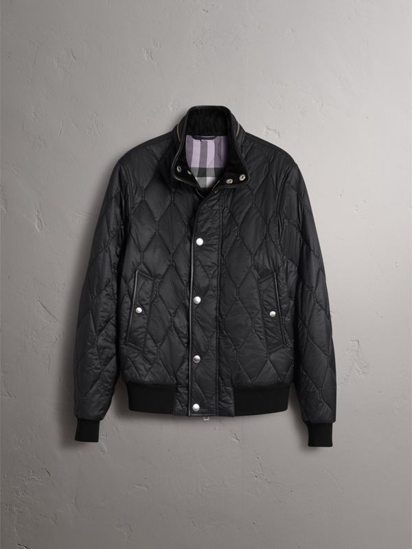 Stand-collar Military-quilted Jacket with Packaway Hood in Black - Men | Burberry - cell image 3
