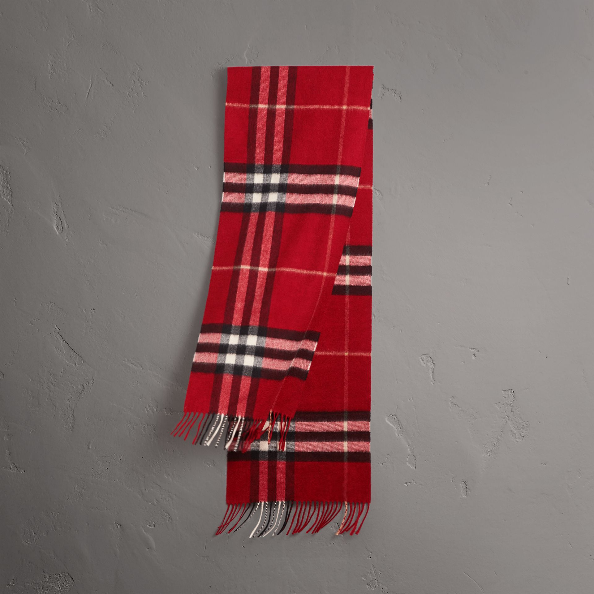 The Classic Check Cashmere Scarf in Parade Red | Burberry Canada - gallery image 0