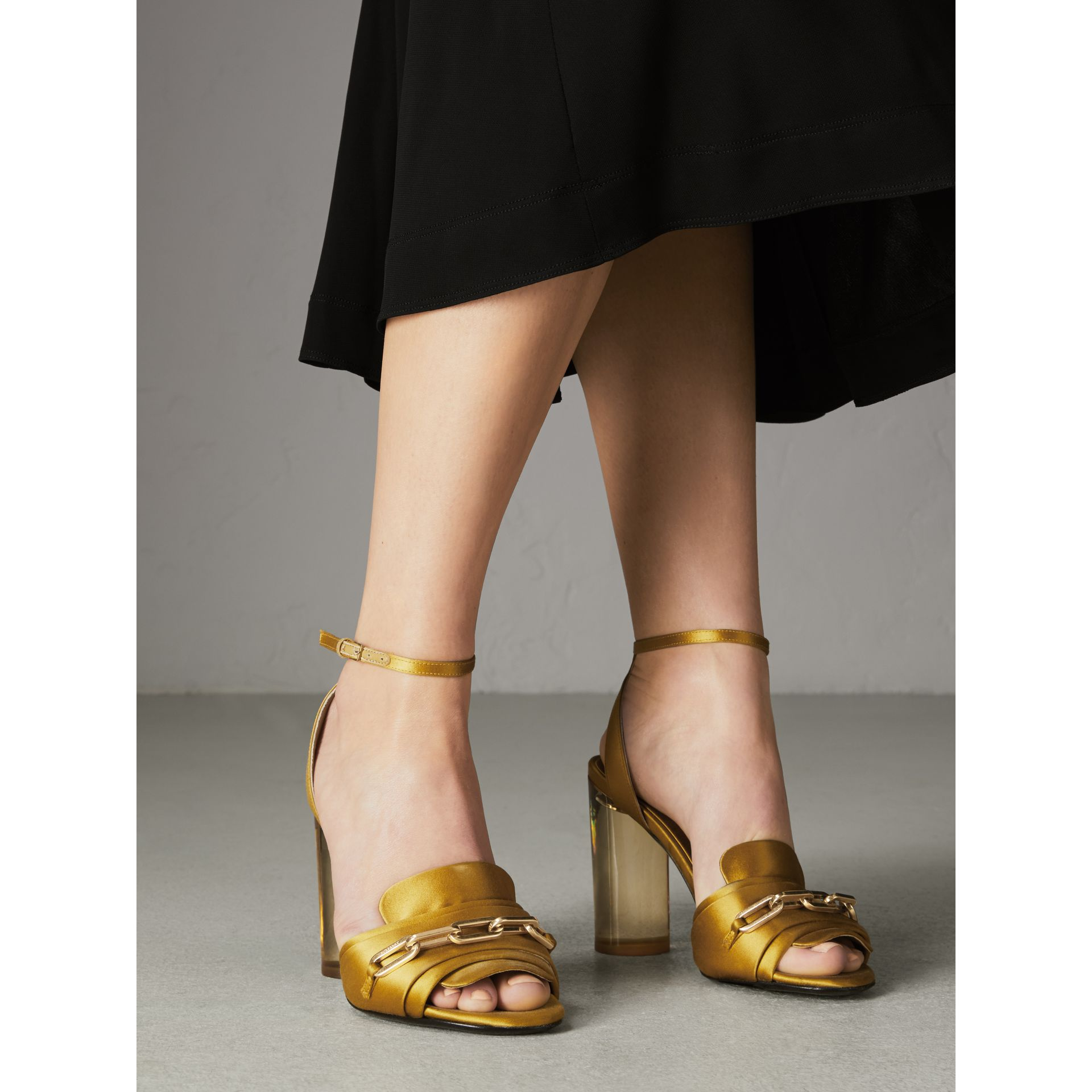 Link Detail Perspex Heel Satin Sandals in Antique Yellow - Women | Burberry Canada - gallery image 2