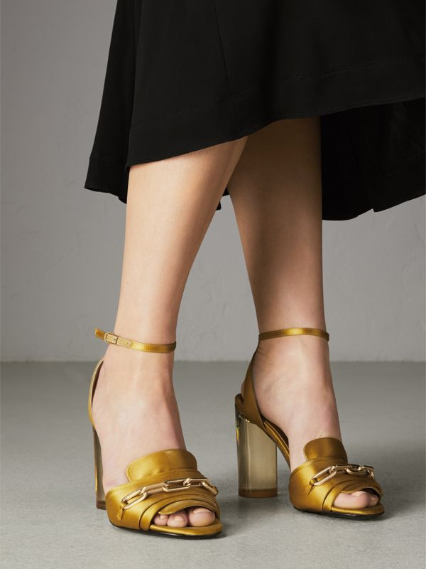 Link Detail Perspex Heel Satin Sandals in Antique Yellow - Women | Burberry United Kingdom - cell image 2