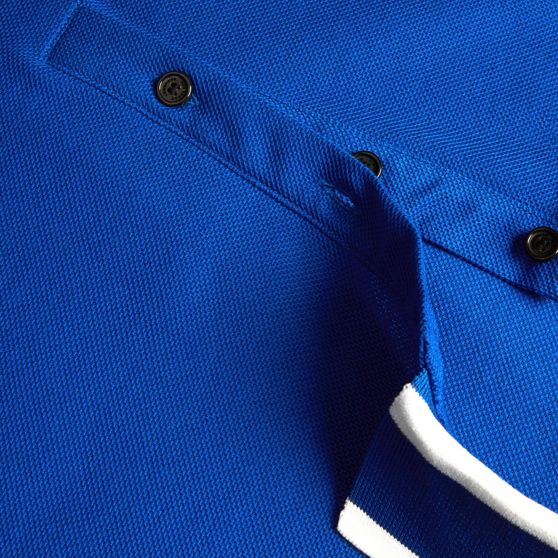 Cobalt blue Striped Collar Cotton Piqué Polo Shirt Cobalt Blue - gallery image 2