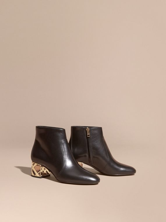 Check Heel Leather Ankle Boots Black