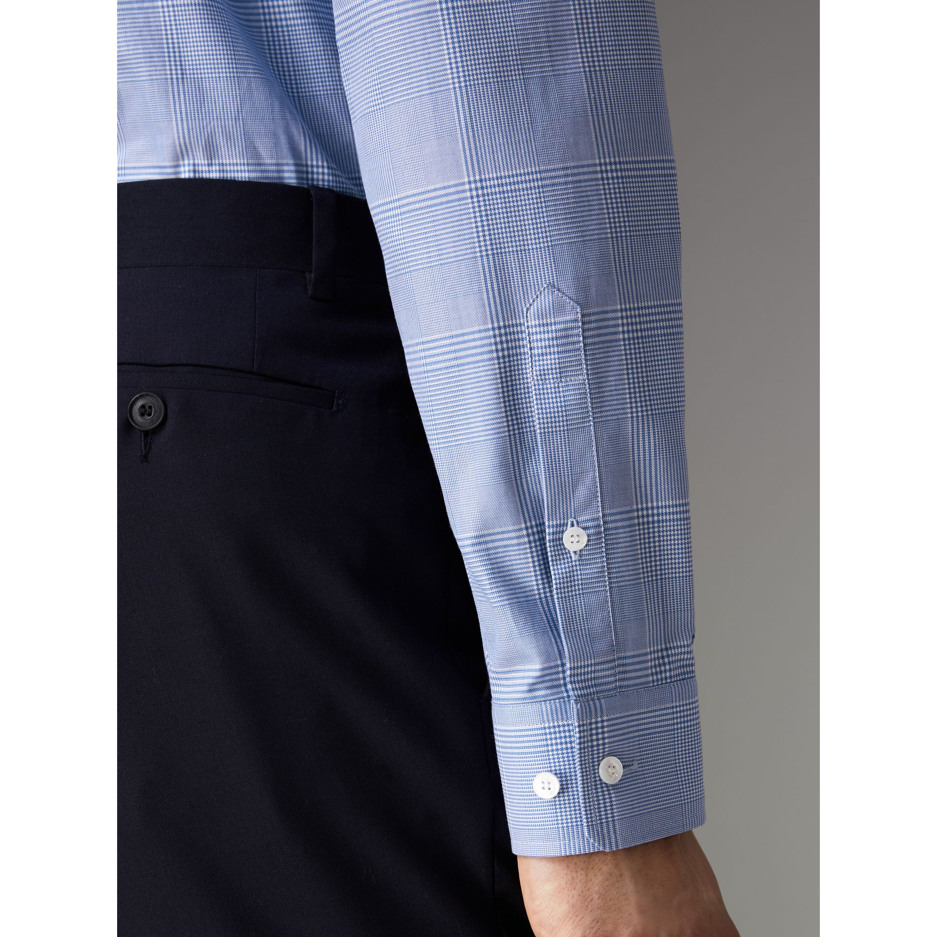 Modern Fit Check Cotton Shirt in City Blue - Men | Burberry - gallery image 4