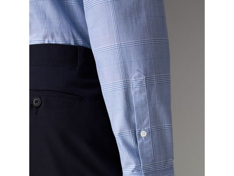 Modern Fit Check Cotton Shirt in City Blue - Men | Burberry - cell image 4