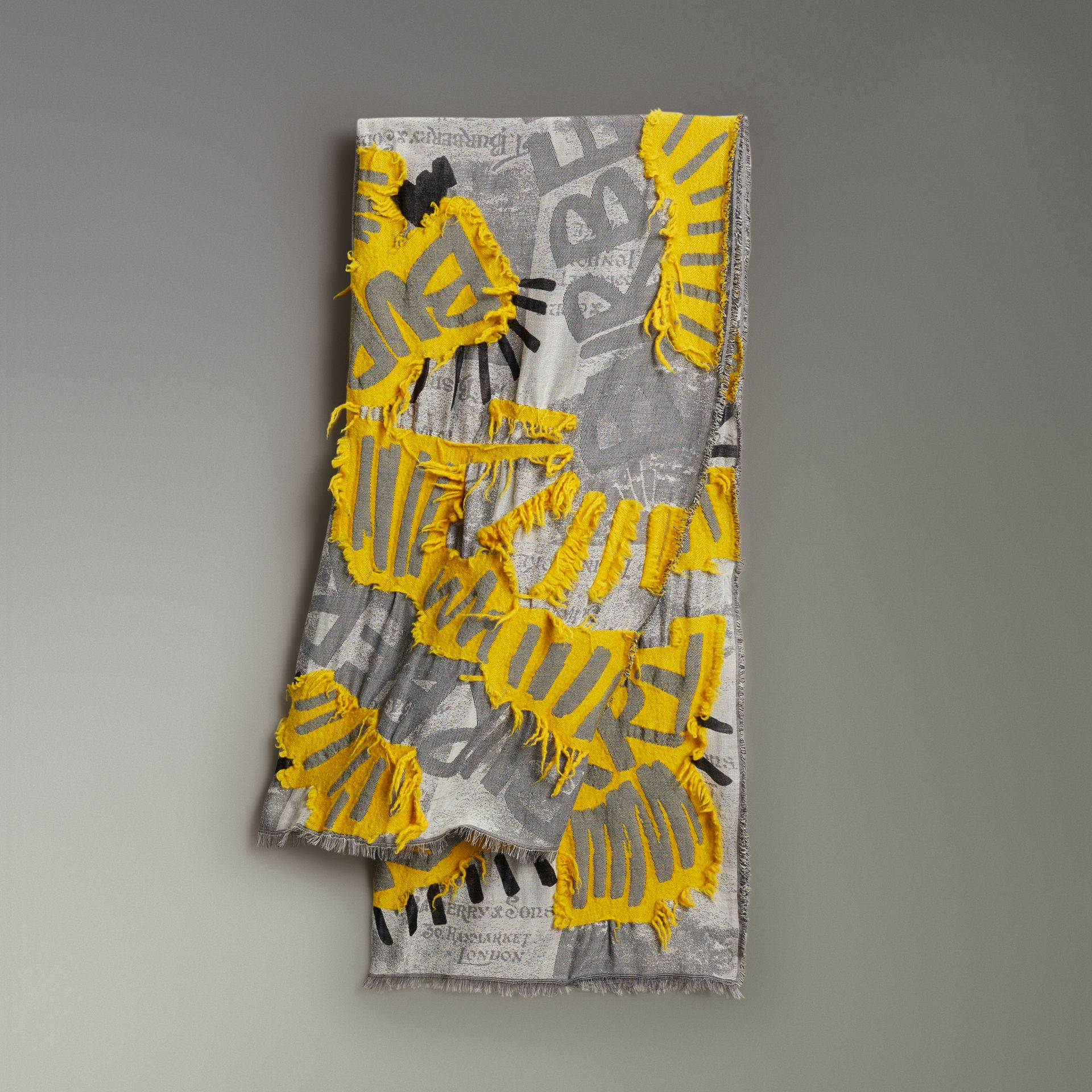 Graffiti Print Fil Coupé Cotton Wool Modal Scarf in Bright Yellow | Burberry - gallery image 0