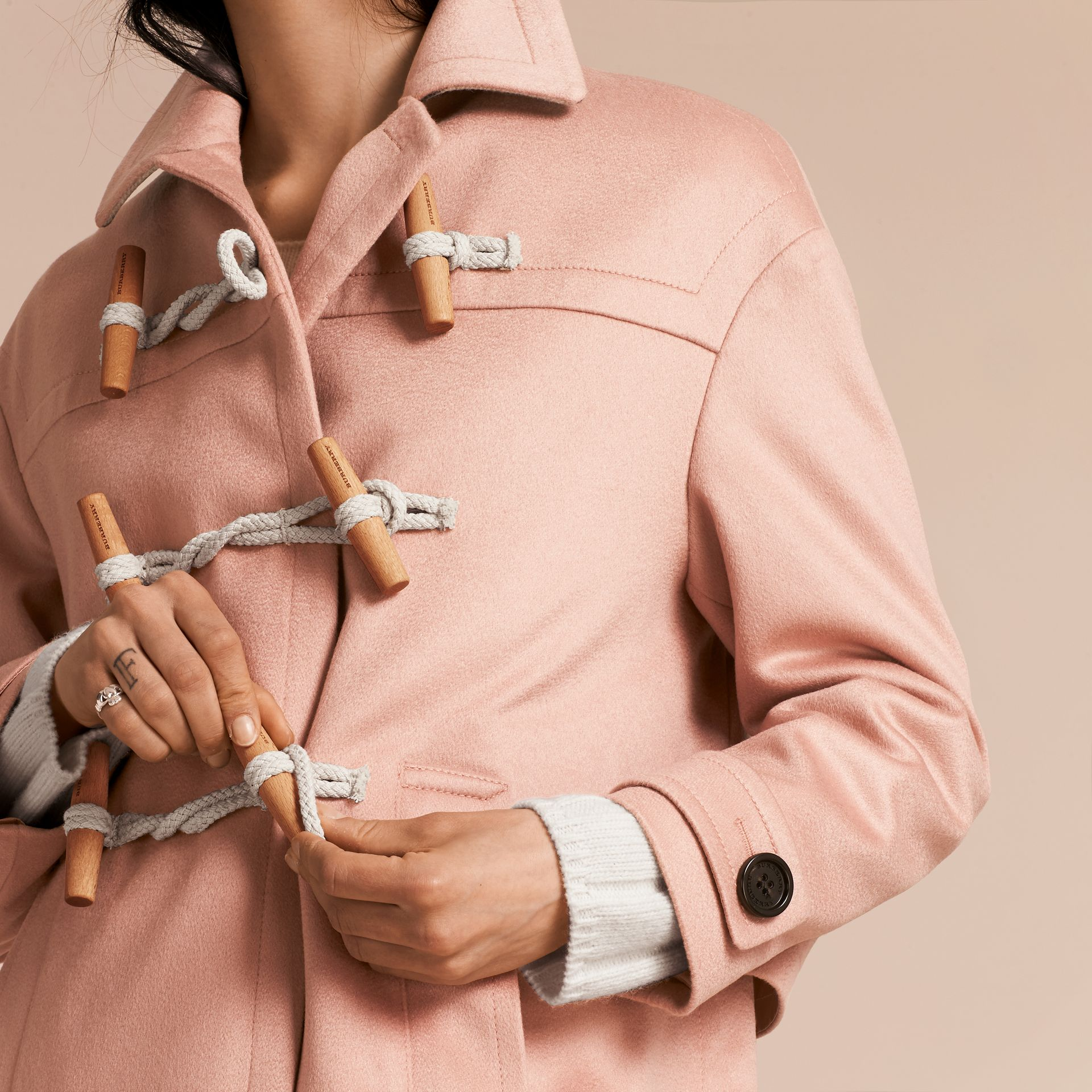 Chalk pink Cashmere Duffle Coat Chalk Pink - gallery image 6