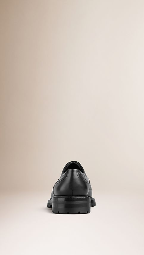 Black Leather Wingtip Brogues With Rubber Sole - Image 2