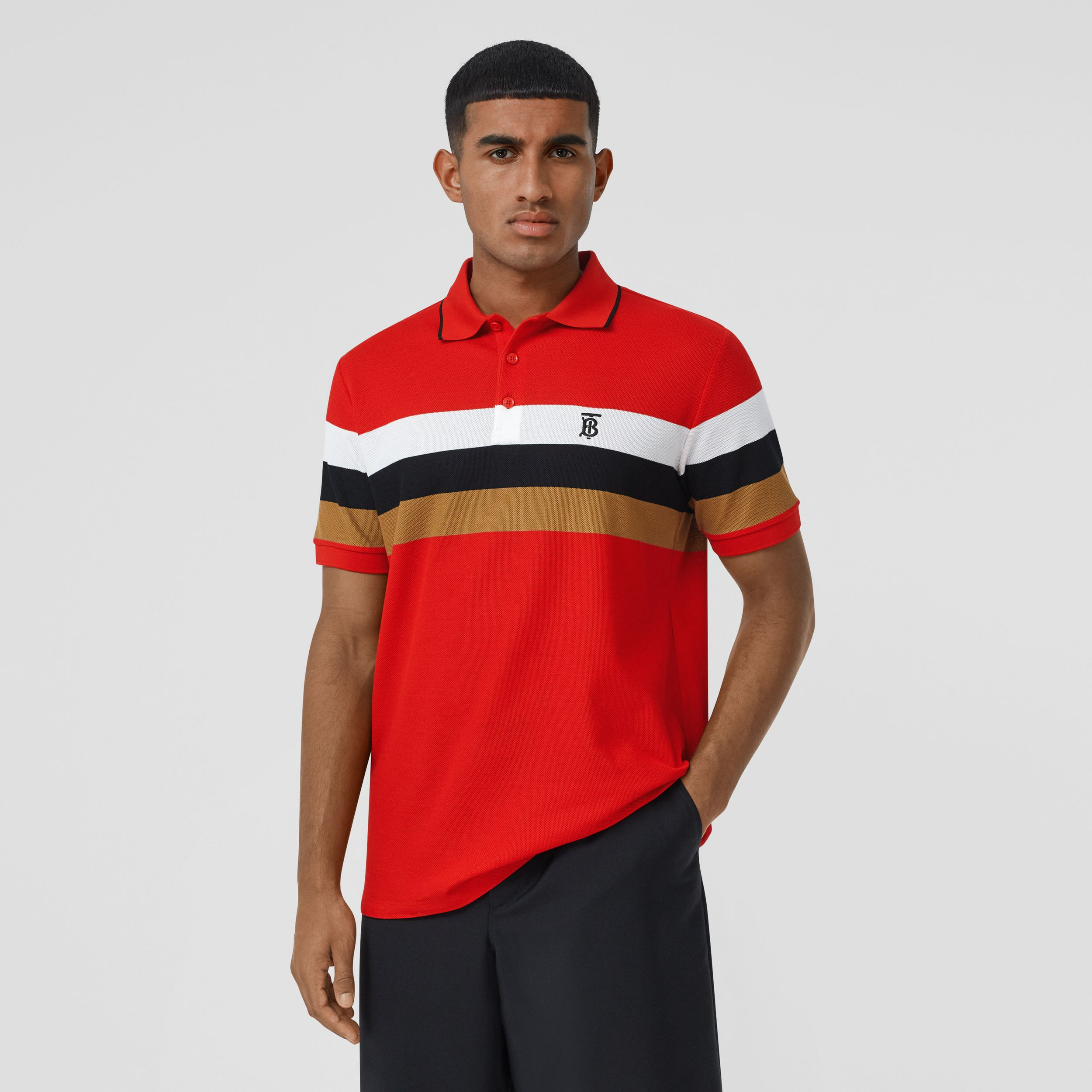 Monogram Motif Striped Cotton Polo Shirt in Bright Red - Men | Burberry - 1