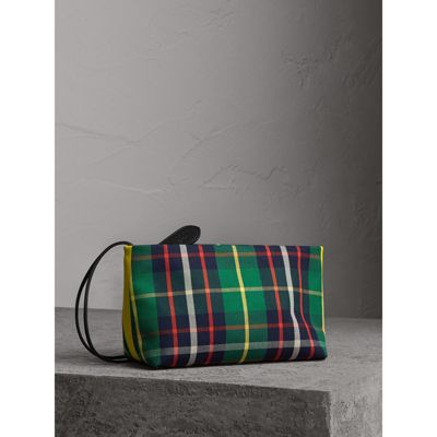 Burberry Tartan Cotton Clutch In Forest Green Deep Navy  727f7141348c5