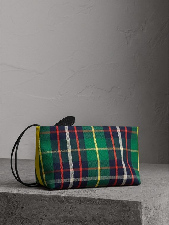 Tartan Cotton Clutch in Forest Green/deep Navy