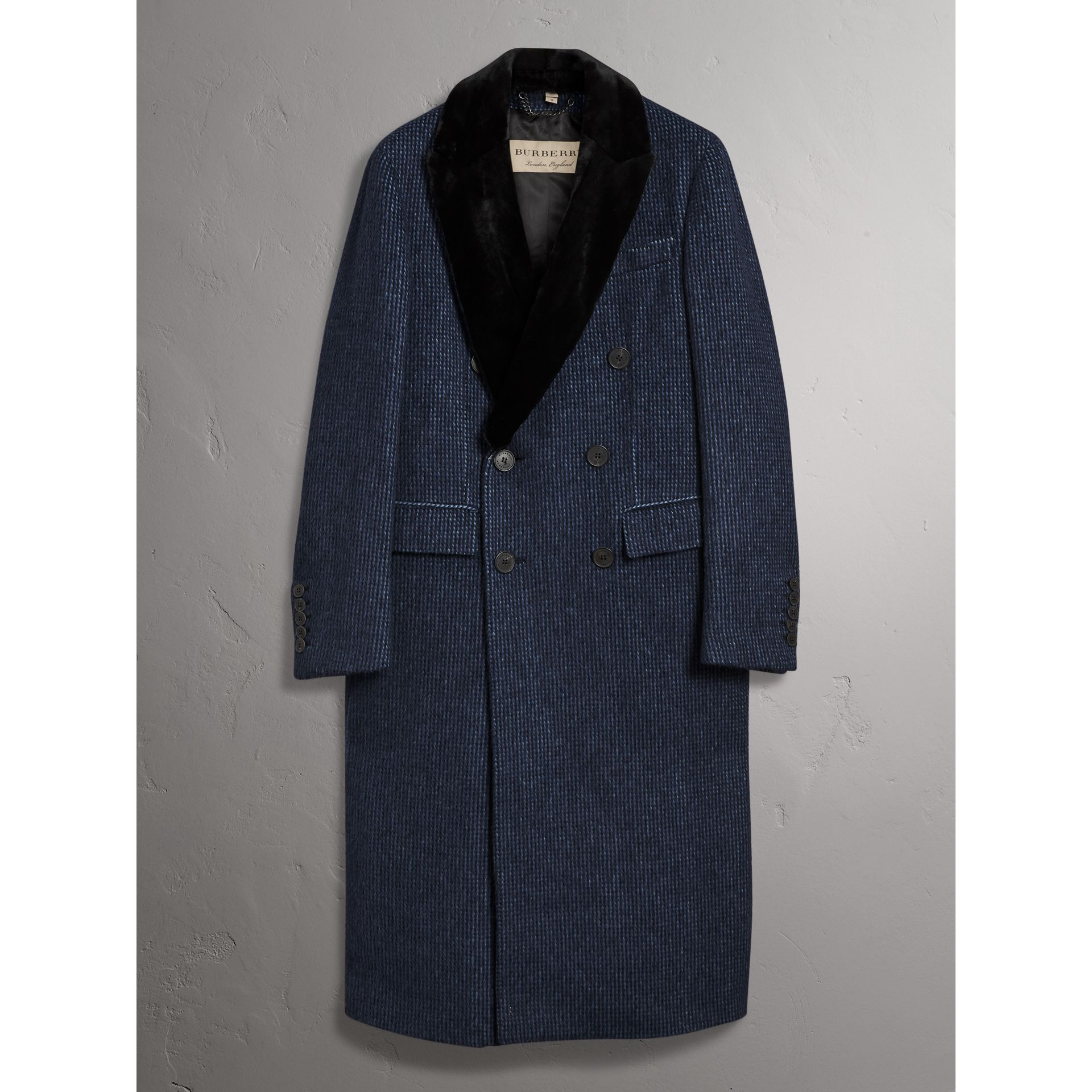 Detachable Fur Collar Alpaca Wool Double-breasted Coat in Pale Sapphire - Men | Burberry - gallery image 4