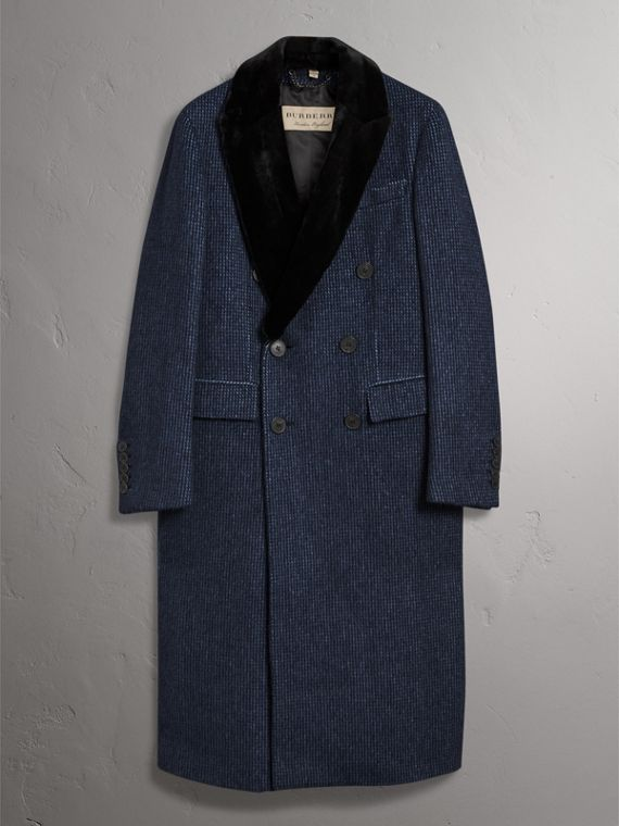 Detachable Fur Collar Alpaca Wool Double-breasted Coat in Pale Sapphire - Men | Burberry - cell image 3