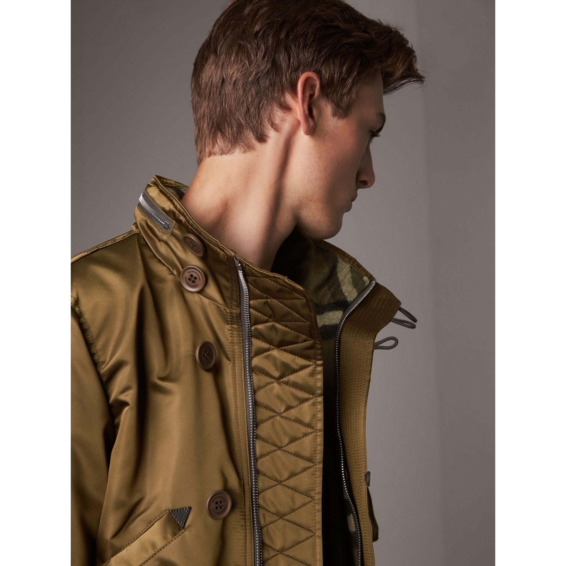 Nylon Bomber Jacket with Packaway Hood in Khaki Brown - Men | Burberry - gallery image 2