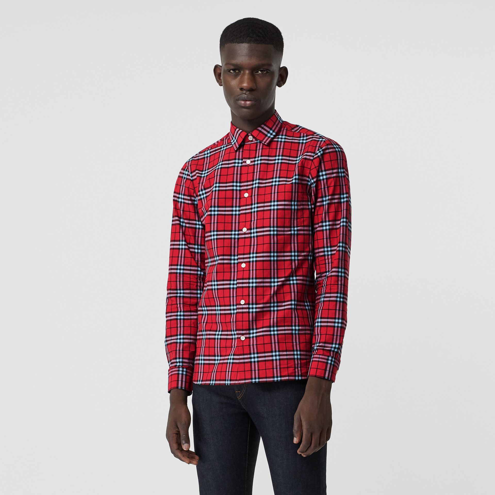 Check Cotton Shirt in Bright Red - Men | Burberry United Kingdom - gallery image 0