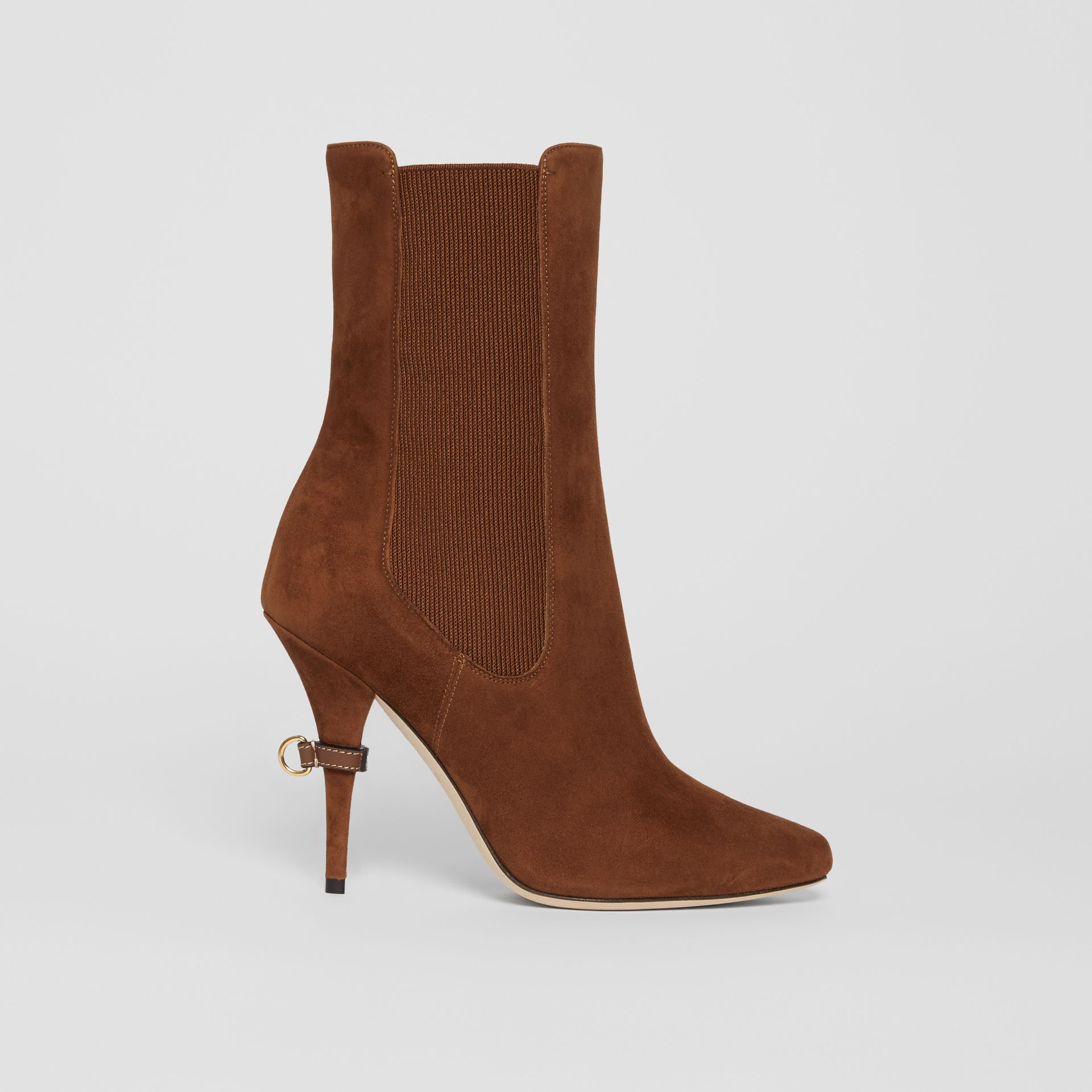 D-ring Detail Suede Ankle Boots in Tan - Women | Burberry - gallery image 5