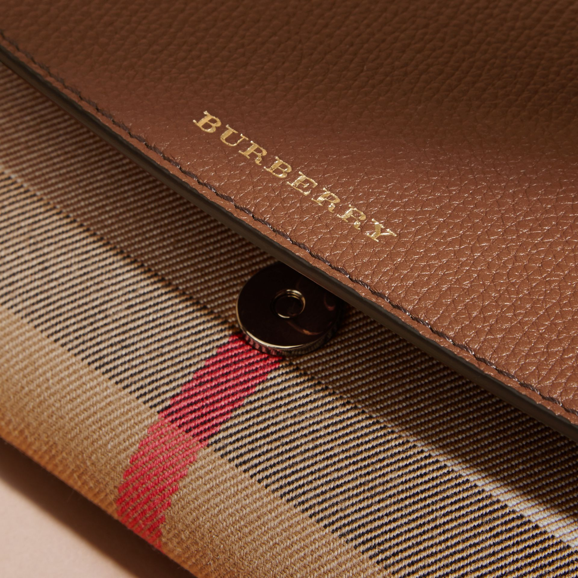 House Check and Leather Wallet with Chain in Tan - Women | Burberry - gallery image 7