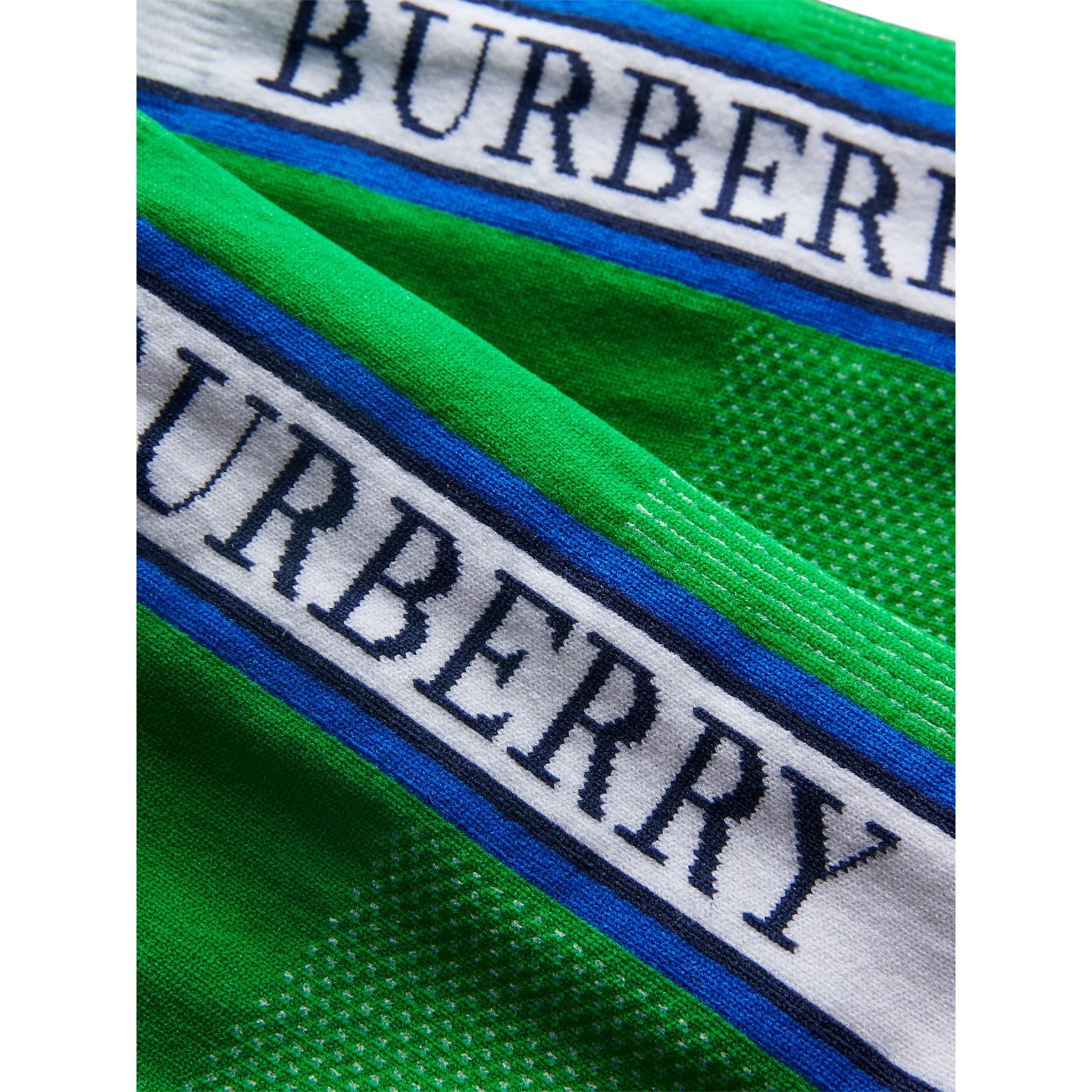 Socquettes en maille technique avec logo (Vert Gazon Vif) | Burberry - photo de la galerie 1