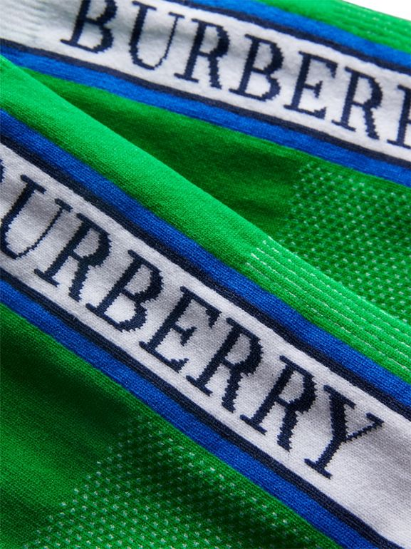 Logo Technical Knit Ankle Socks in Bright Grass Green | Burberry - cell image 1