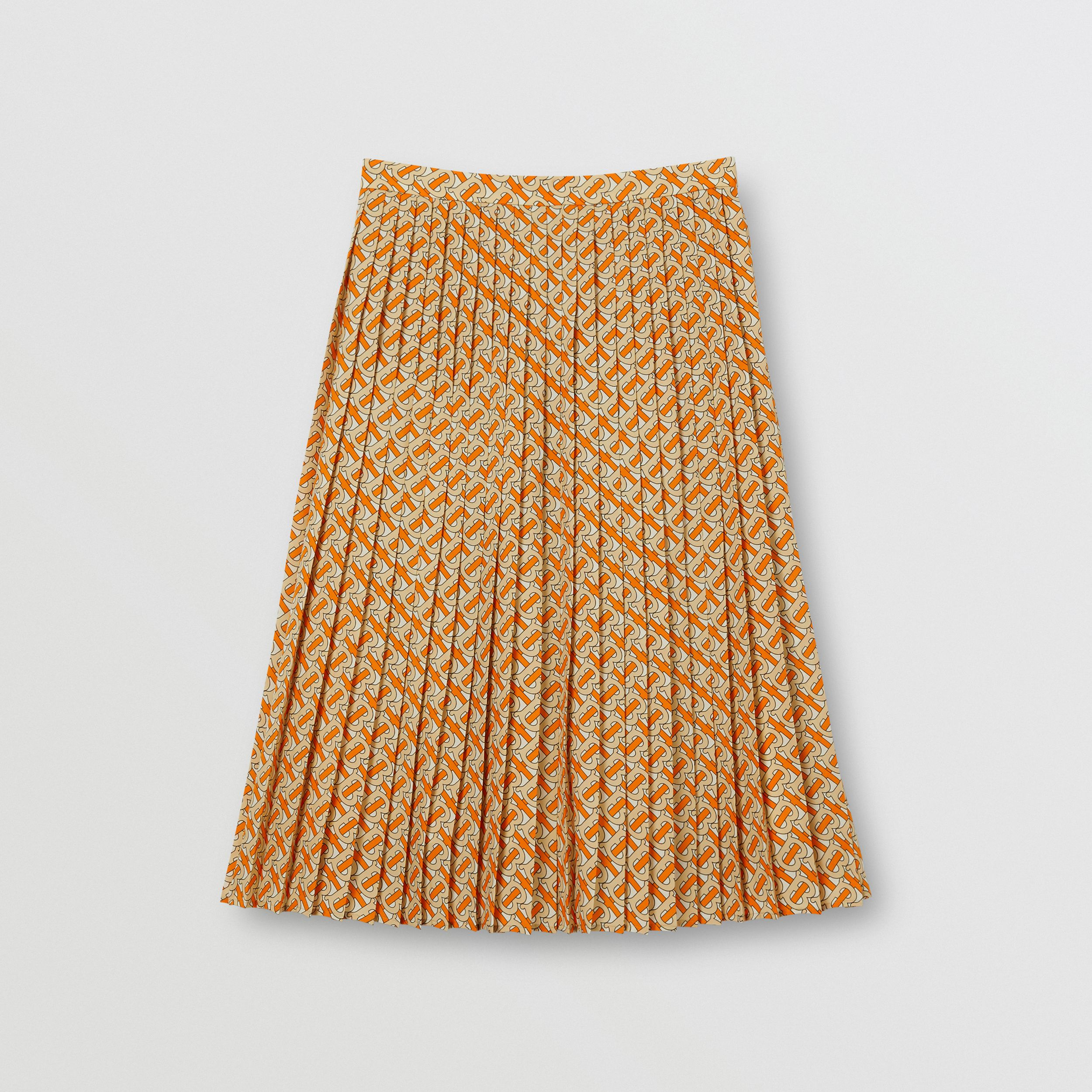 Monogram Print Crepe De Chine Pleated Skirt in Bright Orange - Women | Burberry - 4
