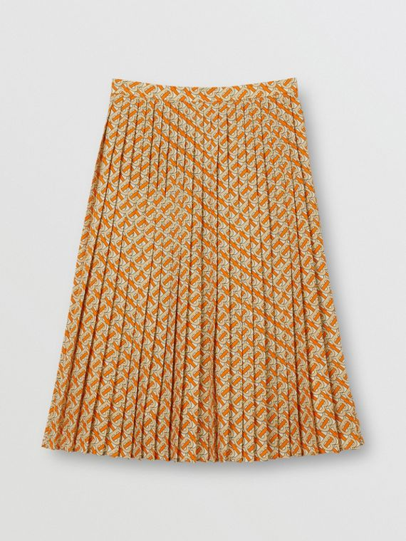 Monogram Print Crepe De Chine Pleated Skirt in Bright Orange