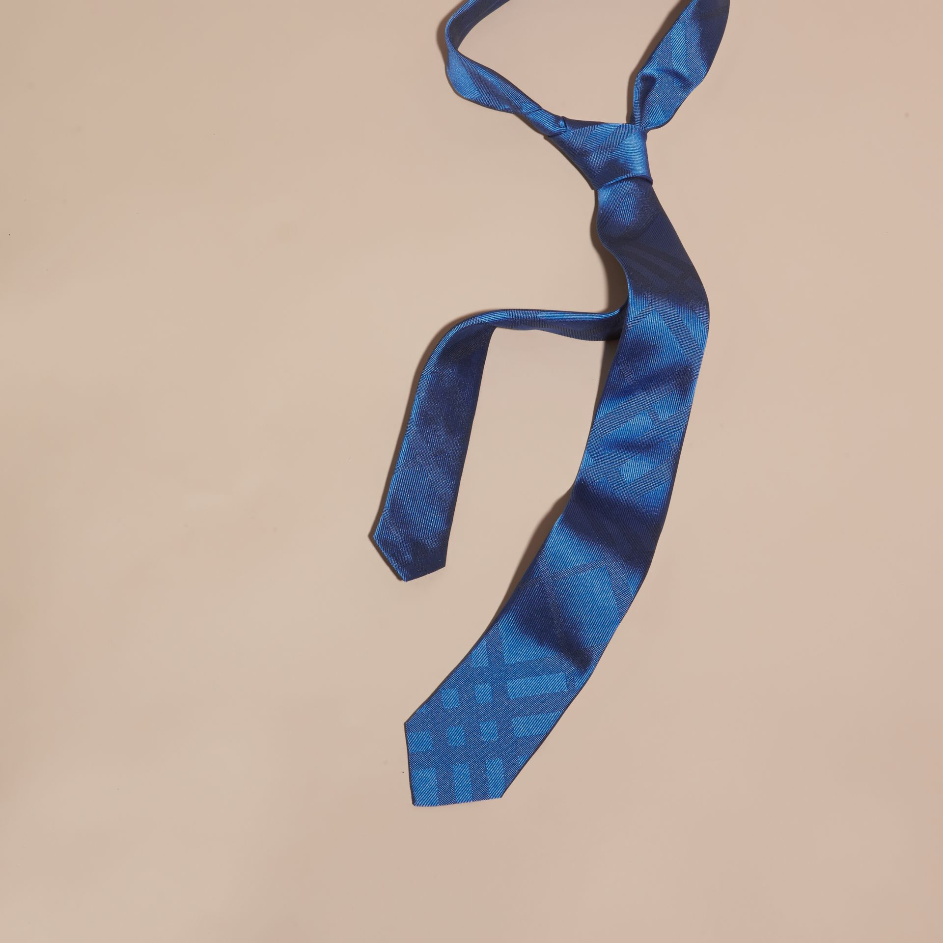Bright hydrangea blue Slim Cut Check Silk Tie Bright Hydrangea Blue - gallery image 1